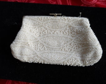 Walborg White Beaded Clutch Purse, Made in West Germany
