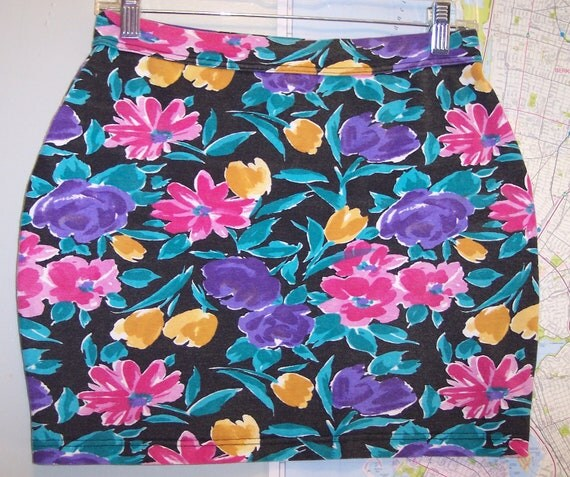 vintage floral mini skirt 80s