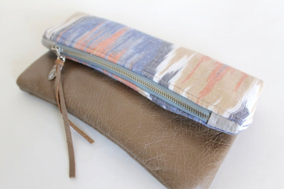 Ikat and leather fold over clutch
