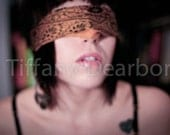 Blindfold - golden retro blindfold - soft focus - self portrait with lip ring - 8x10 color matte print