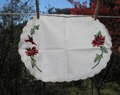 Christmas VINTAGE Hand Stitched linen doile table runner placement Red Pointsettias Christmas Decor Vintage Christmas Tableware LB1