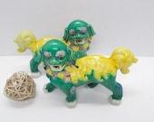 Pair Porcelain Ceramic Walking Foo Dog Lion Figurines Green and Yellow Feng Shui