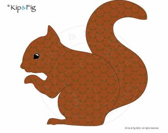 Red Squirrel applique template - PDF applique pattern