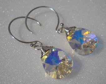 Swarovski pear Aurora Borealis crystal earrings wrapped in sterling silver. Bridal earrings...