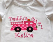 Applique Personalized Daddy's Girl Pink Fire Truck Onesie