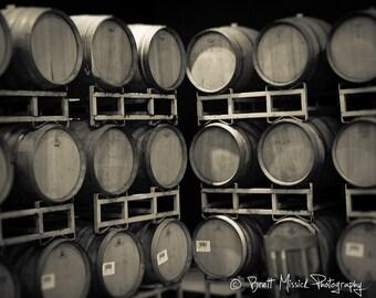 16x20 Wine Barrels Fine Art Print Black and White Napa Sonoma Vineyards Wall Decor