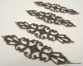Antiqued Brass Filigree Marquise, 56.5x15mm, 10 Pieces