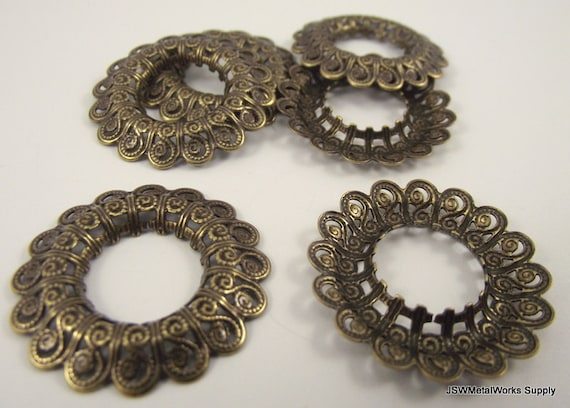 Antiqued Gold Plated Filigree Open Round, 29mm, 10 Pieces