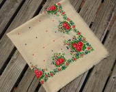 Beige Floral Vintage Scarf / Shawl Bright Colors 6