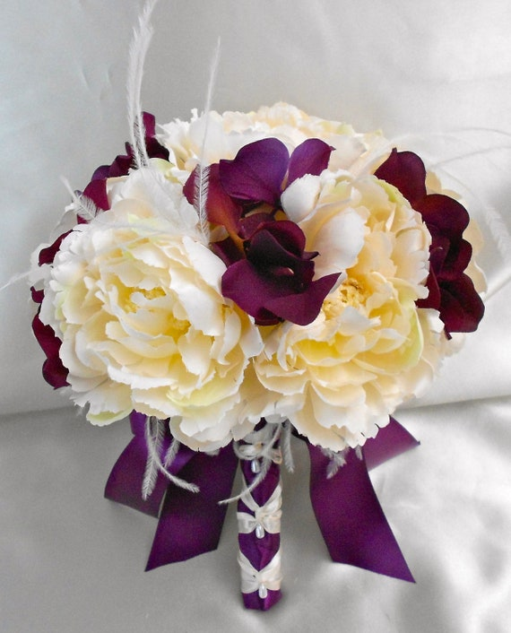 Wedding Silk Flower Bridal Bouquet Your Colors Ivory Eggplant
