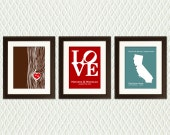 Wedding Decor for your wedding day - Personalized Trio of Prints for that special Valentine