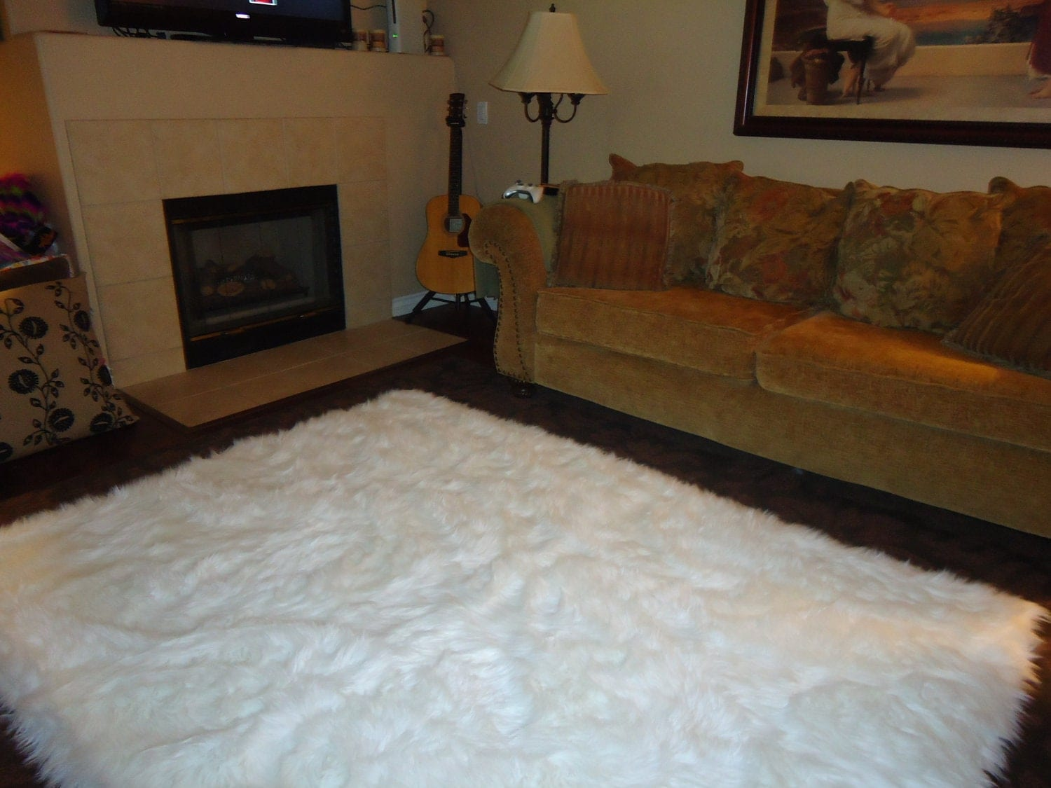 Large Black And White Area Rugs: 5' X 7' Shaggy Snow White Faux Fur Sheep Skin By NotTooShaggy