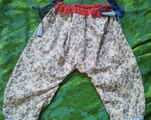 RESERVED FOR MARISOL Baby Girl Trousers/Harem pants Upcycled Blue Grey, Red and Blue (6-12-18months)