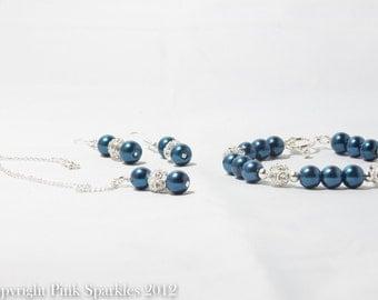 Midnight Blue Pearl Jewellery Set, Necklace, Bracelet, Earrings