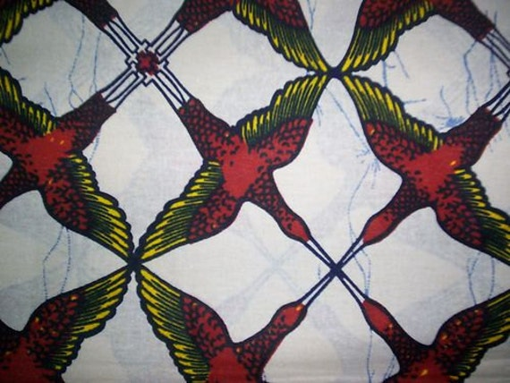 FAT QUARTER Red and Yellow Bird design on cream background african wax print  fabric - good quality