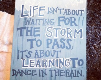 Dancing in the Rain Quote Canvas