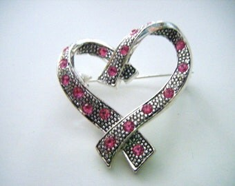 Pretty Pink Rhinestones Silver Heart Brooch or Pin Vintage Marked With AK