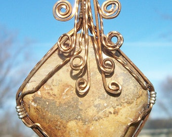 Wire wrapped pendent,  Picture Jasper in Bronze wire.