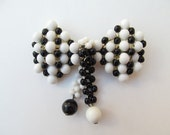 Large Miriam Haskell Style Black and White Bow Brooch WWII Era