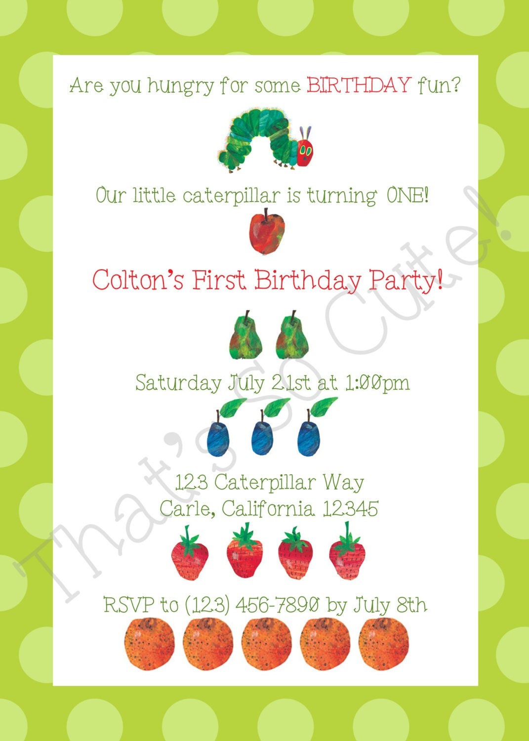 Free caterpillar invitations templates party invitations for Very hungry caterpillar templates free
