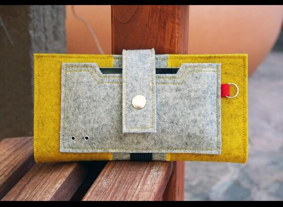 Iphone wallet - yellow mustard and grey 100% merino wool felt