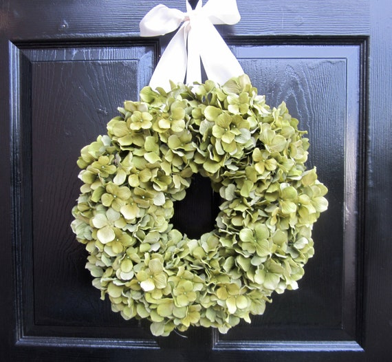 Reseved listing for Robyn - Green Hydrangea Wreath with Ivory Ribbon
