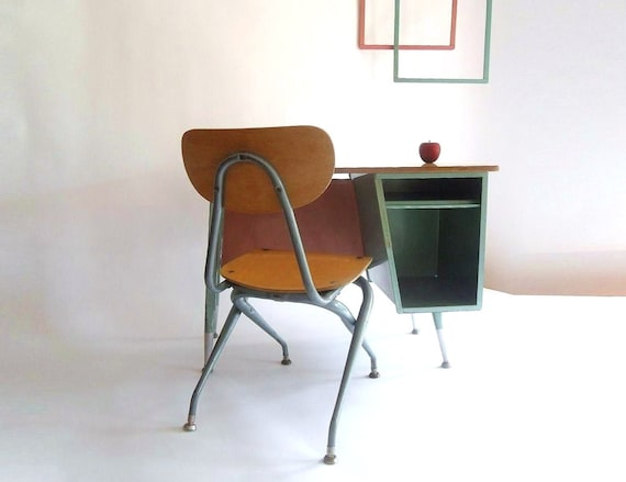 SALE 15% Off. K - 4 Retro Mid Century School Desk and Chair. Turquoise/Teal and Pink. Eames Era.