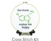 Serotonin Molecule Cross Stitch KIT