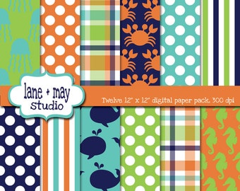 digital scrapbook papers - preppy sea life theme patterns - INSTANT DOWNLOAD