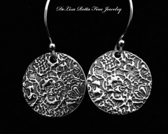 Recycled Silver, Antique, Victorian, Rose, Lace, Earrings
