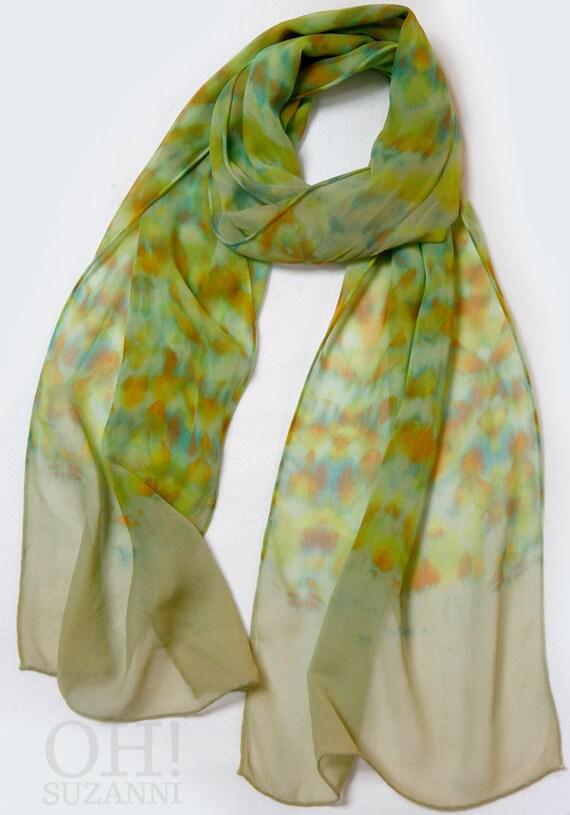 Green Silk Scarf Bohemian Modern Styled Hand Dyed Chiffon. Shibori Silk scarf Boho Fashion
