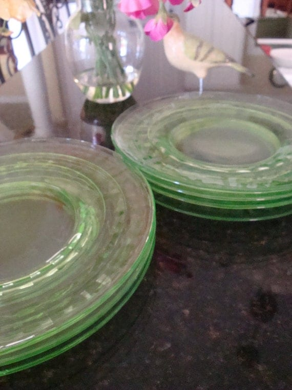 Green Block Optic Depression Glass plates by Anchor Hocking