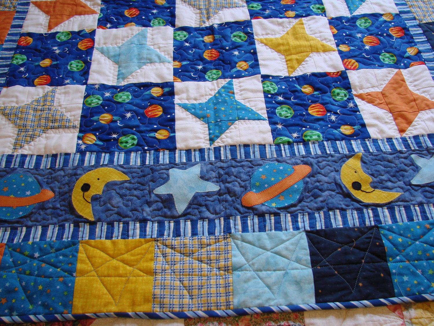Outer space baby boy quilt for Space baby fabric