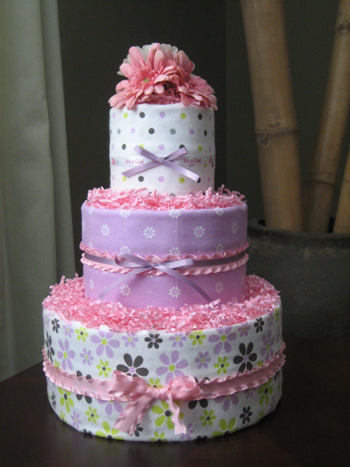 Pink And Lavender Girl Diaper Cake For Baby Shower Centerpiece