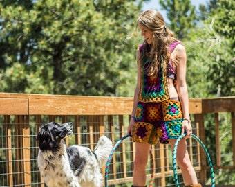 Crochet granny square overalls- custom