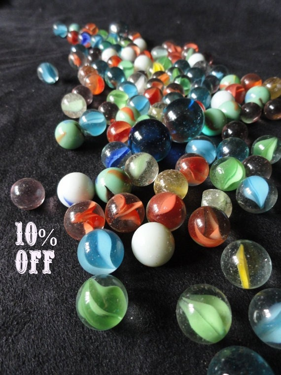 Vintage Glass Marble Variety of 100 plus 3 Large Glass Marbles