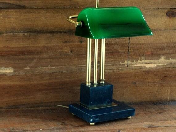 Banker S Desk Lamp Vintage Green Glass Shade Brass