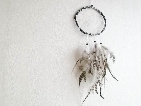 Dream Catcher - Black and White Dreams - With Natural Black&White Dotted Feathers, Black Frame and White Crochet Nett - Home Decor, Mobile