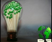 Manual Lighting - Think Green - Upcycle - Light Bulb Globe & Matches - Match Sticks