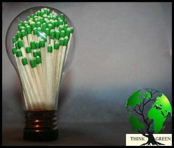 Manual Lighting - Think Green - Upcycle - Light Bulb Globe & Matches - Match Sticks
