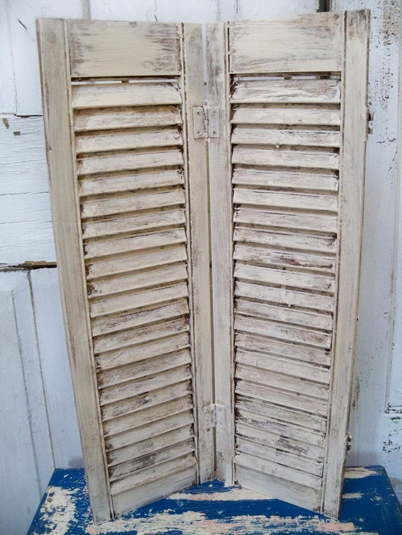 Vintage painted distressed farmhouse white shutter wooden shabby chic decor  Anita Spero