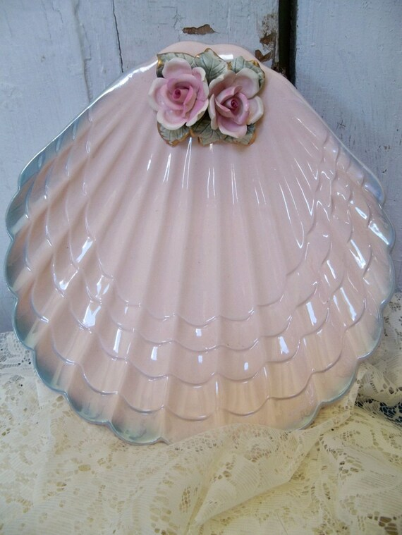 VIntage shabby chic ceramic pink tray with detailed roses Mexican pottery Anita Spero