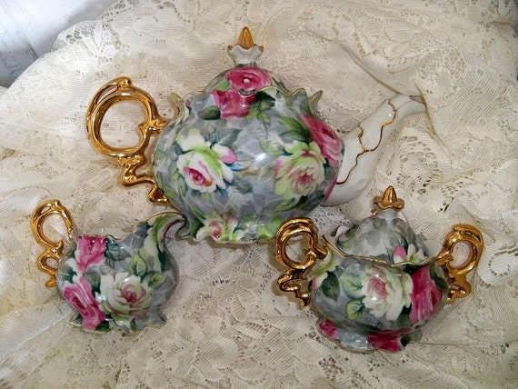 Shabby chic Tea set fine china Norcrest pink rose pattern vintage collectibles Anita Spero