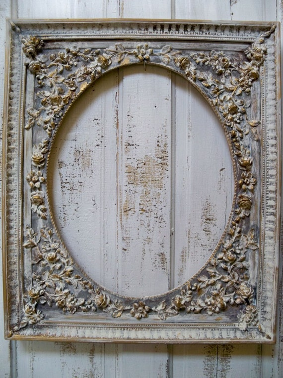 Shabby chic rose covered frame vintage distressed large wall decor Anita Spero