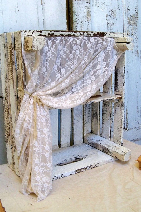 White Distressed Wood Crate Shelf Weathered Soft Lace Curtain