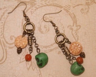 Green Skull and Flower Earrings