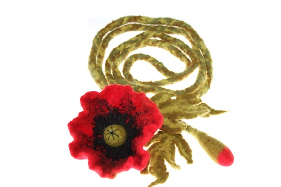 Felted belt / Belt Red poppy / brooch / Felt Flower Necklace  / waistband / flower / red / poppy / gift under 40 / Ready to ship