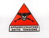 Industrial Red black vintage metal sign
