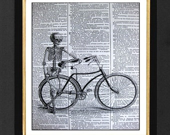 "Skeleton Print ""The Bike Rider"" Skeleton Humor Picture, Skeleton Bike Print,Vintage Dictionary Page, Dictionary Art, Skeleton Humor,"