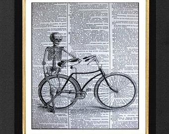"Skeleton Print ""The Bike Rider"" Skeleton Humor Picture, Skeleton Bike Print,Vintage Dictionary Page, Dictionary Art, Skeleton Humor,"